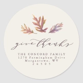 Give Thanks Thanksgiving return address sticker