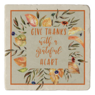 Give Thanks -Thanksgiving Trivet with Wreath