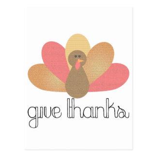 give thanks thanksgiving turkey postcard