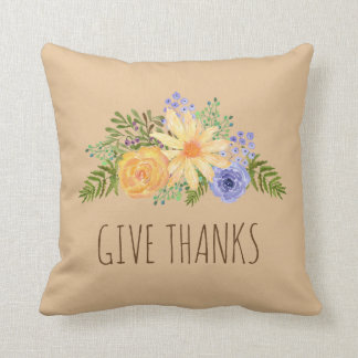 Give Thanks Watercolor Fall Floral Thanksgiving Throw Pillow