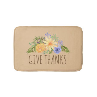 Give Thanks Watercolor Fall Flowers Thanksgiving Bath Mat