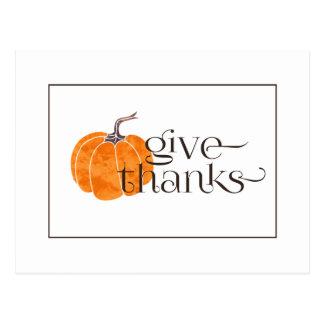 Give Thanks | Watercolor Pumpkin Postcard