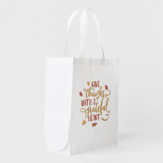 Give Thanks with a Grateful Heart Typography Reusable Grocery Bag