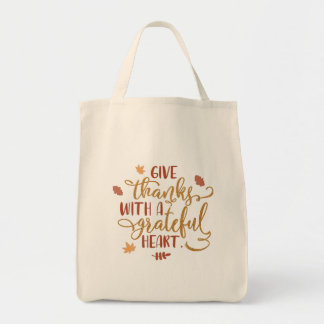 Give Thanks with a Grateful Heart Typography Tote Bag