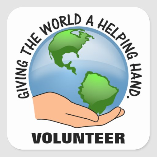 Give the world a helping hand and volunteer square stickers