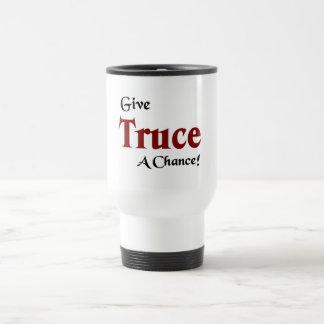 Give truce a chance travel mug