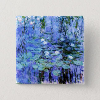 giverny lily pond by the master Monet 2 Inch Square Button