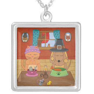 Giving Thanks Thanksgiving Cat and Dog Necklace