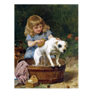 Giving the Dog a Bath - Vintage Dog Postcard