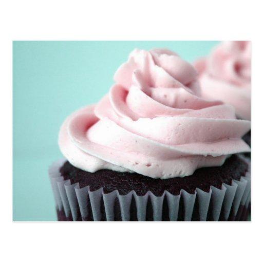 Givrage de vanille de rose de petit gâteau de choc cartes postales