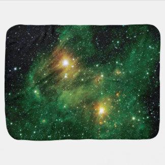 GL490 Green Gas Cloud Nebula Stroller Blanket