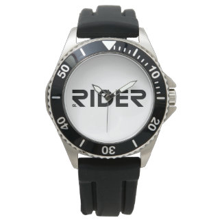 GL RIDER - Stainless Steel Black Leather Watch