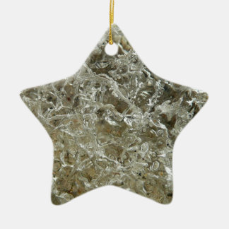 Glacial Ice Abstract Nature Textured Design Ceramic Star Ornament