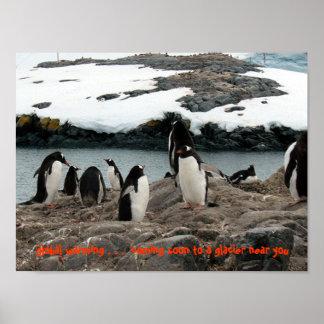 Glacial Warming Gentoo Penguins Print