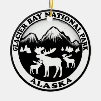Glacier Bay National Park Alaska moose circle Ceramic Ornament