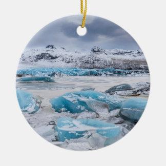 Glacier Ice landscape, Iceland Round Ceramic Ornament