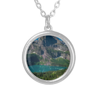 Glacier lake in a mountain, Montana Silver Plated Necklace
