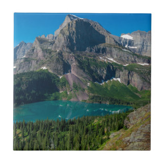 Glacier lake in a mountain, Montana Tile
