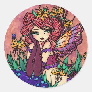 """Glacier Lily"" Fairy Fantasy Fairy Art Round Sticker"