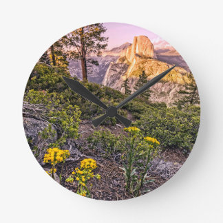 Glacier Point Sunset (Vertical) Round Clock