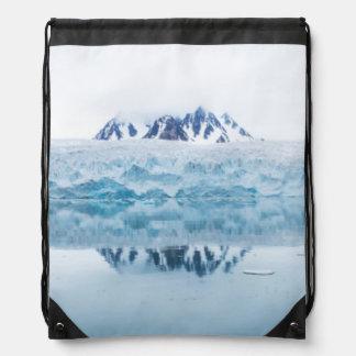 Glacier reflections, Norway Drawstring Bag