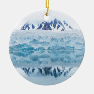 Glacier reflections, Norway Round Ceramic Ornament