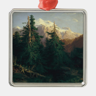 Glacier, Rosen Lanigletscher, 1854 Silver-Colored Square Ornament