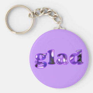 Glad spelled with purple flowers keychain