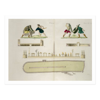 Gladiators and a plan of the circus of Caracalla, Postcard