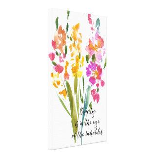 Gladioli Beauty Quote Watercolor Canvas Print