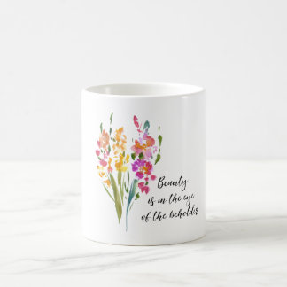 Gladioli Beauty Quote Watercolor Coffee Mug