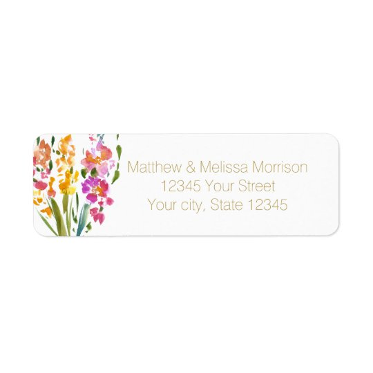 Gladioli Watercolor Floral Wedding Return Address Label
