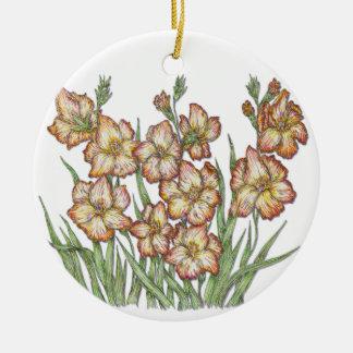 Gladiolus Round Ceramic Ornament