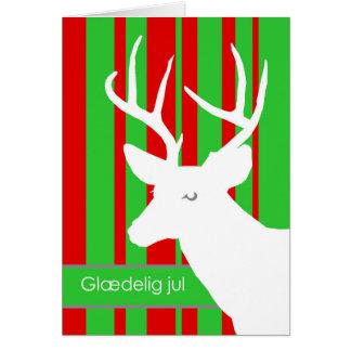 Glaedelig jul, Christmas in Danish, White Deer Card