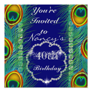 Glam40th PEACOCK Designs BLING Birthday Invitation Personalized Invitation