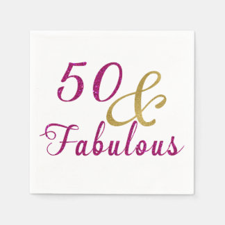 Glam 50 and Fabulous Birthday Party Paper Napkins