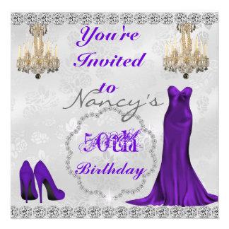 Glam 50th Vintage Design BLING Birthday Invitation Custom Announcement