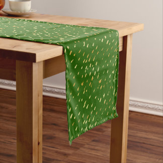 Glam abstract mint green gold splatter short table runner