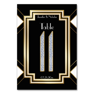 Glam Art Deco Diamond Wedding Table Number Eleven Table Card