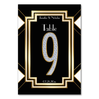 Glam Art Deco Diamond Wedding Table Number Nine Table Card