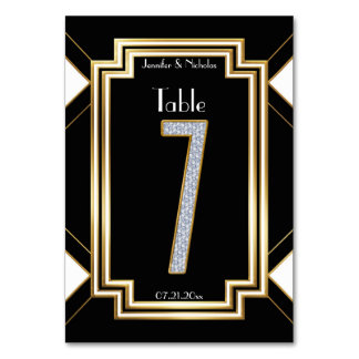 Glam Art Deco Diamond Wedding Table Number Seven Table Cards