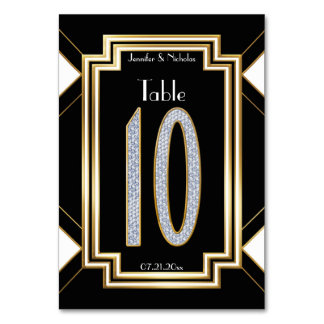 Glam Art Deco Diamond Wedding Table Number Ten Table Cards