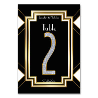 Glam Art Deco Diamonds Wedding Table Number Two Table Cards