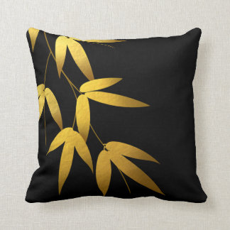 Glam Bamboo Leaves Gold Foil   black Throw Pillow