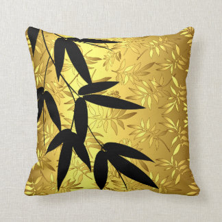 Glam Bamboo Leaves Gold Foil   gold Throw Pillow