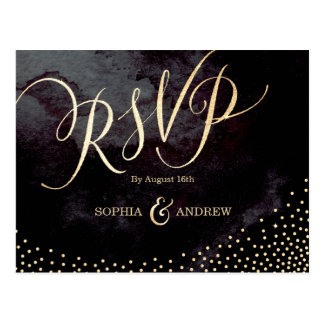 Glam black faux gold glitter calligraphy RSVP Postcard