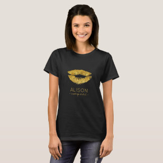 Glam black gold glitter big lips makeup artist T-Shirt