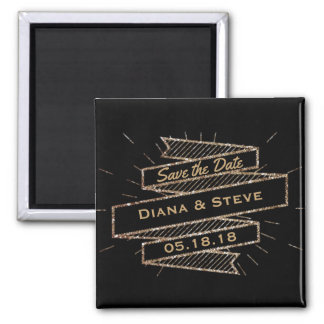 Glam Black Gold Glitter Wedding | Save the Date Square Magnet