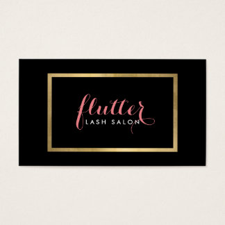 Glam Black Pink Gold Lash Salon Business Card