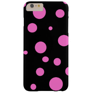 Glam Black with Pink Polka Dots iPhone Cases